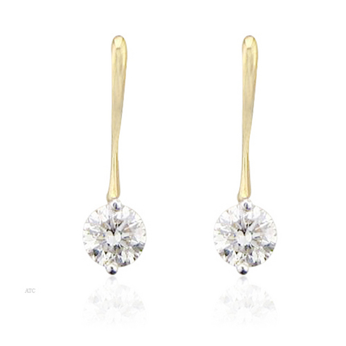 10K GOLD SOLITAIRE LOOK AMERICAN DIAMOND EARRINGS SOLE1