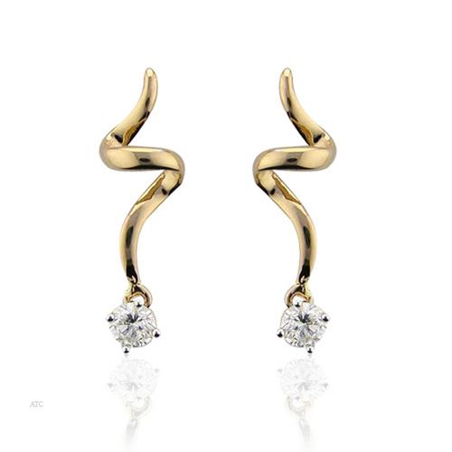 10K GOLD SOLITAIRE LOOK AMERICAN DIAMOND EARRINGS SOLE2