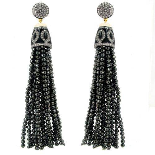 Diamond Black Spinel Beads Tassel Earrings