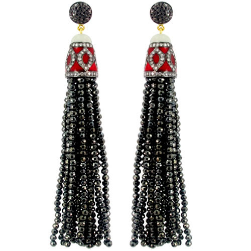 Enamel Diamond Black Spinel Tassel Earrings
