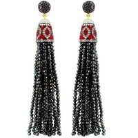Enamel Diamond Black Spinel Tassel Earrings