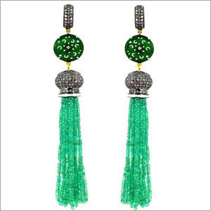 Emerald  Beads Enamel Tassel Earrings
