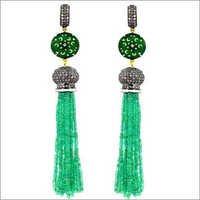 Emerald  Beads Enamel Tassel Earrings