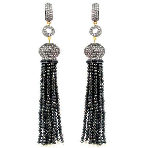 Pave Diamond Black Spinel Beads Tassel Earrings