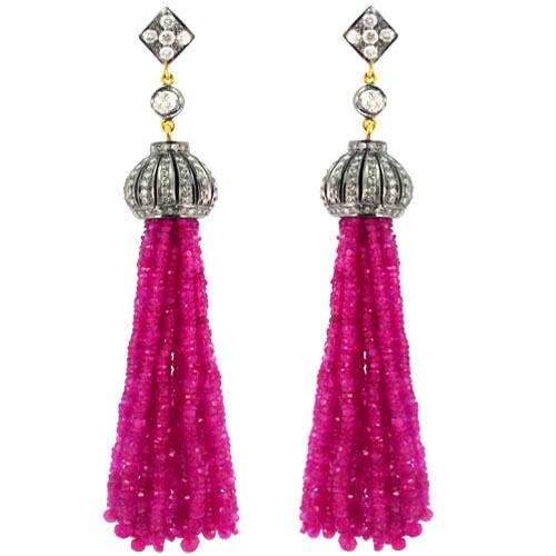 Pink Tourmaline Beads Diamond Tassel Earrings