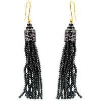 Gold Pave Diamond Gemstone Tassel Earrings