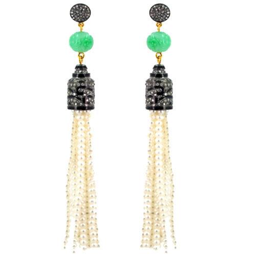 Diamond Pearl Beads Tassel Dangle Earrings