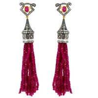 Pave Diamond Tourmaline Beads Tassel Earrings