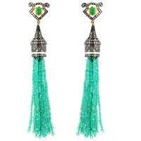Emerald Gemstone Beaded Tassel Earrings Jewelry