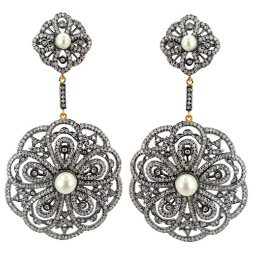 Pearl Gold Pave Diamond Filigree Earrings