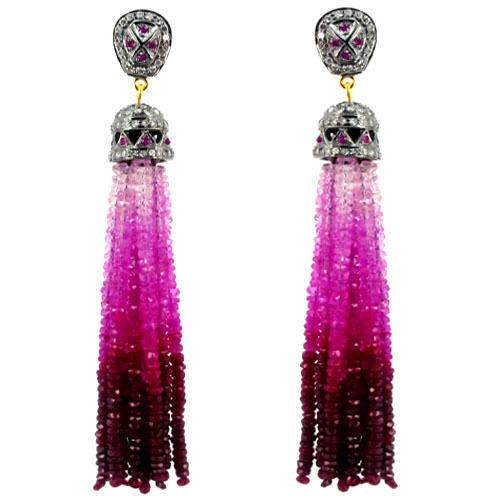 Diamond Pink Tourmaline Tassel Earrings