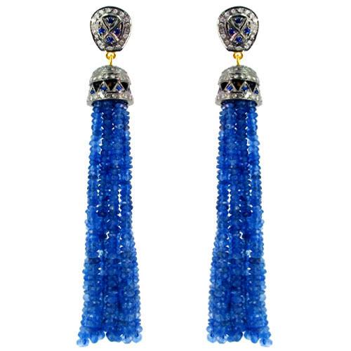 Blue Sapphire Beads Diamond Tassel Earrings