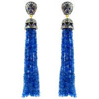 Blue Sapphire Beads Diamond Tassel Earrings