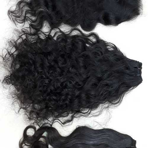 Curly Black Weft Hair