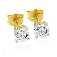 10K GOLD SOLITAIRE LOOK AMERICAN DIAMOND EARRINGS SOLE3