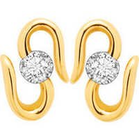 10K GOLD SOLITAIRE LOOK AMERICAN DIAMOND EARRINGS SOLE4