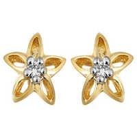 10K GOLD SOLITAIRE LOOK AMERICAN DIAMOND EARRINGS SOLE5