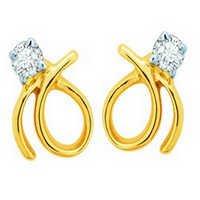 10K GOLD SOLITAIRE LOOK AMERICAN DIAMOND EARRINGS SOLE6