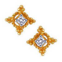 10K GOLD SOLITAIRE LOOK AMERICAN DIAMOND EARRINGS SOLE9