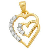 Ag American Diamond BEAUTIFUL HEART WITH 10 DIAMOND PENDANT # KIP0003