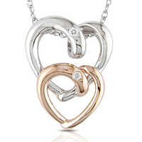 Ag American Diamond TWO FANCY HEART SHAPE PENDANT # KIP0020