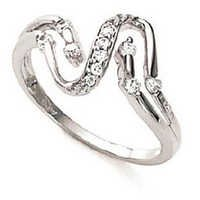 Ag American Diamond TWISTED SNAKE SHAPE RING # KIR0010