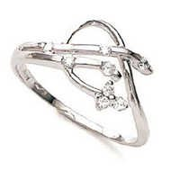 Ag American Diamond BEAUTIFUL THIN FLOWER SHAPE RING # KIR0011