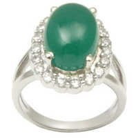 Green Stone Silver Ring, Green Je Hand Ring Silver