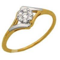 Ag American Diamond CIRCULAR FLOWER SHAPE DIAMOND RING # KIR0027
