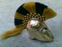 MEDIEVAL ARMOUR SPARTAN HELMET WITH YELLOW PLUME COLLECTABLE MARINE PROP