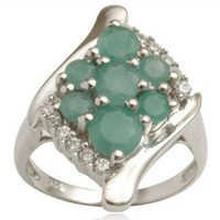 emerald silver ring  engraved silver ring silver e