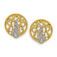 Ag American Diamond ANTIC CRAFTED PECACOK DIAMOND EARRING # KIE0033