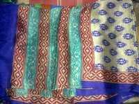 tussar silk hand block printed