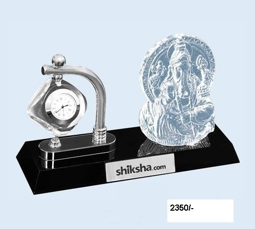 Crystal Ganesha With Clock