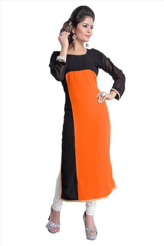 Black And Orange Georgette Kurti
