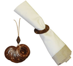 Coconut Shell Napkin Rings - 2.5 Inches daimeter