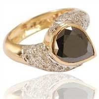 6.51 Gm Pear Shape Black & White Diamond Designer Ring In 14 K Gold