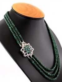 3 Strand Precious Cabochon Emerald With Silver Clasp Gemstone Necklace