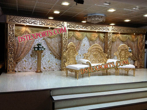 Latest Royal Gold Wedding Stage Set