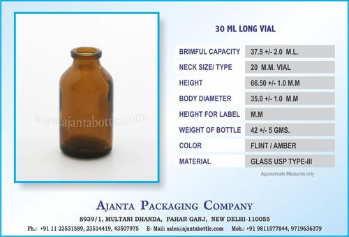 30 ML LONG VIAL AMBER
