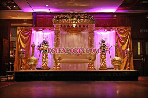 Latest Asian Wedding Crystal Fiber Stage Set