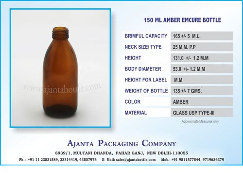 150 ML AMBER EMCURE BOTTLE