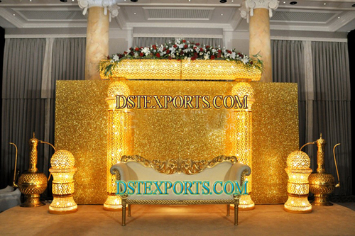 Asian Wedding Jewel Pillars Stage