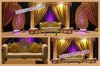 Muslim Wedding Lighted gold stage Set