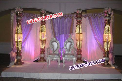 Asian Wedding Bottle Pillars Stage