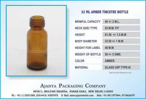 32 ML AMBER TINCUTRE BOTTLE