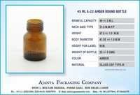 45 ML G-22 AMBER ROUND BOTTLE