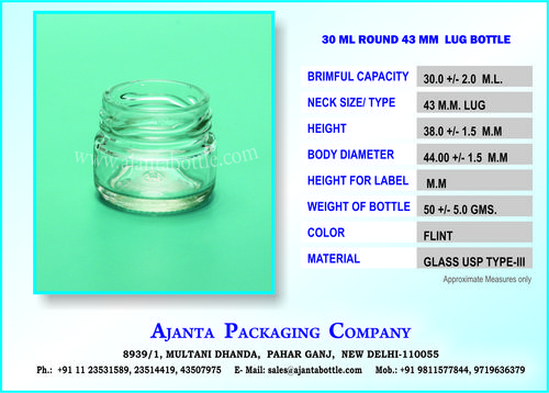 30 ML ROUND 43 MM  LUG BOTTLE
