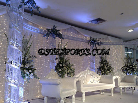 Asian Wedding Crystal Pillars Stage