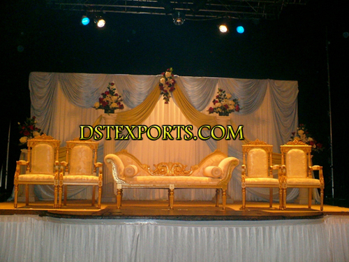 Asian Wedding Golden Furniture Stage Set